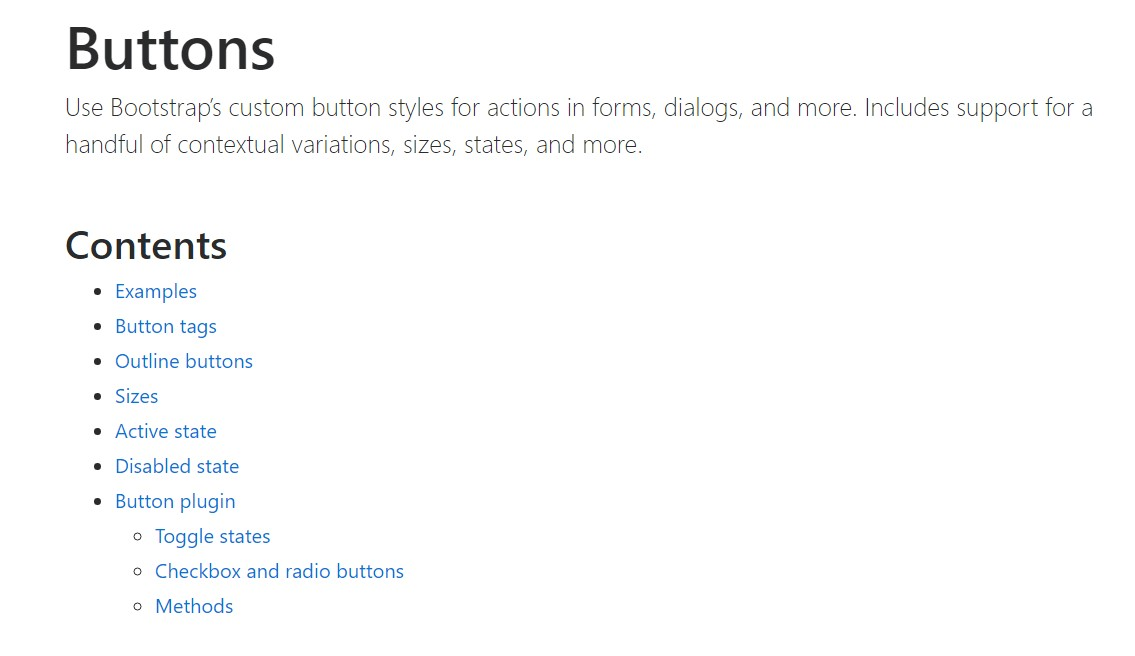 Bootstrap buttons  authoritative  information